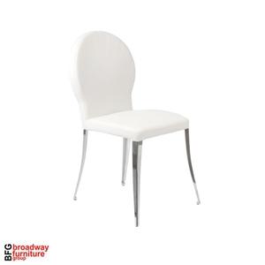 Alexa Side Chair (Set of 2) - White/Chrome