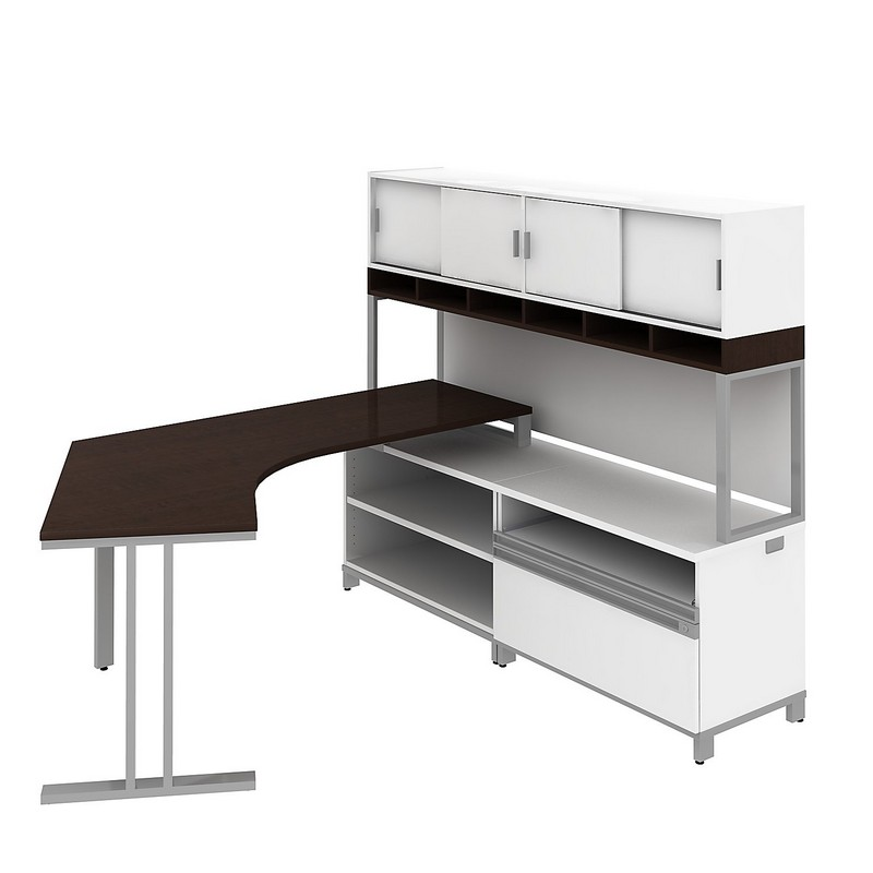 Bfg Madison Mocha Cherry Dog Leg Left Desk In Rh L Configuration W 72 Overhead