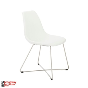 Apollo Side Chair (Set of 4) - White/Brushed Stainless Steel