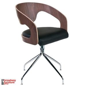 Angie Swivel Chair (Set of 2) - Walnut/Black/Chrome