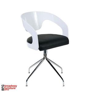 Angie Swivel Chair (Set of 2) - White/Black/Chrome